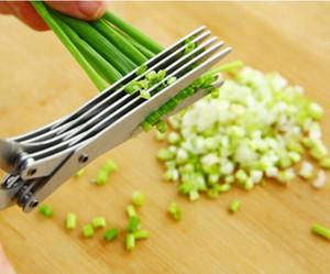 دائم الفولاذ المقاوم للصدأ سكاكين المطبخ مقص 5 طبقات مقص المطبخ شحذ أدوات الطبخ