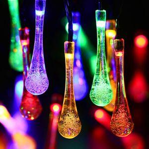 21ft 30 بقيادة قطاع الشمسية قطرة الماء في الهواء الطلق الجنية أضواء مصباح حديقة سلسلة الإضاءة هالوين عيد الميلاد الديكور أدى
