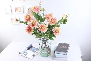 5xBouquets Emulational Silk Flor 3 Cabeça Dahlia Flores Para Casa Decoração Do Partido Decoração De Casamento Flores Artificiales