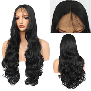 Pas cher Top Vente Body Perruques Vague synthétique Lace Front Wigs noir avec bébé cheveux résistant à la chaleur des cheveux pour les femmes noires du Brésil Wholealse Prix