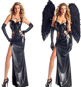 Großhandel-Sexy Erotic Cosplay Kostüme Sexy Angel Costume Erotic Leather Long Dress Sexy herausgestellte Brüste Versuchung Uniform disfraz CE247