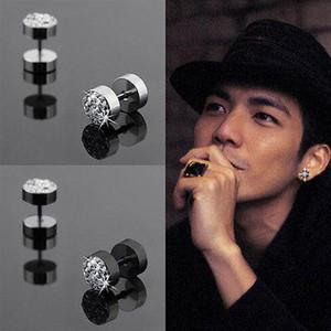 2Pcs 8 mm Black Silver Uomo Barbell Punk in acciaio inox con strass Crystal Ear Studs Orecchini per le donne gioielli 2 colori
