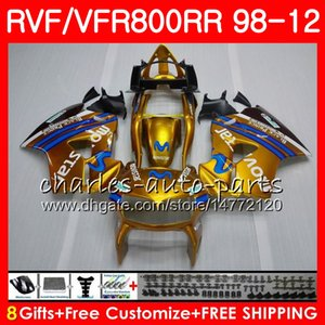 VFR800 для HONDA Interceptor VFR800RR 98 Movistar gold 99 00 01 02 03 04 12 90NO3 VFR 800 RR 1998 1999 2000 2001 2002 2003 2004 2012 обтекатель