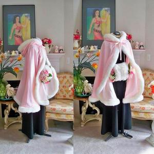 HOT Warm Bridal Cape Wraps Custom Made Winter Mantello Mantello con cappuccio con rifiniture in pelliccia Short Bridal Wraps Winter Jacket Coat for Bride