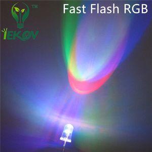 10000pcs / lot 5MM veloce RGB Flash Red Green Blue LED arcobaleno multicolore Emitting Diodes rotonda Strobe LED Lamp Active Light Components Wholesa