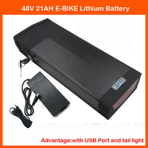 High quality 1000W 48V 21AH Electric Bicycle Battery 48V 20.8AH Rear Rack Lithium Battery with USB port & Tail Light 54.6V 2A Charger