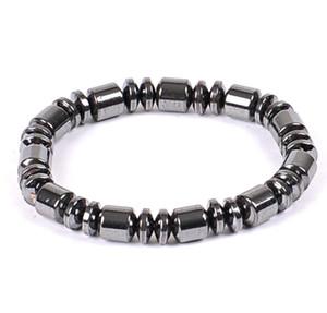 Mão Cordas Nature Hematita preto colar pulseira 6MM 8MM Beads Barrel frisada terapia magnética pulseira envoltório de pulso de Esportes Homens Mulheres