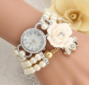 Luxury Christmas Gift watches Womens Bracelet Rhinestone Dial Flower Faux Pearl Band Analog Quartz Bracelet Pearl Blossom Wrist Watch
