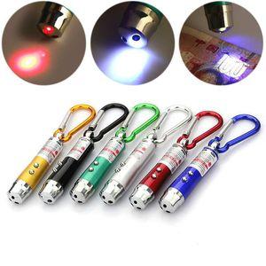 3 in1 مضيا الشعلة ضوء الأشعة فوق البنفسجية سبائك الألومنيوم الشعلة مع حلقة حلقة Carabiner أقراط مصغرة مصباح يدوي مؤشر الليزر الأحمر