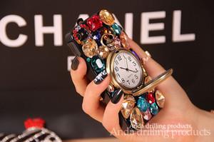 iPhone Para a Apple Retro Rhinestone Diamante 6 6s Mais de gemas coloridas Bling Telefone Caso da tampa do vintage relógio de bolso sino iPhone 5 5s i6