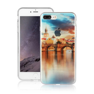For iPhone7 7 plus Clear Back Case TPU Ultra-Thin Transparent Scenery Cell Phone Cases with DHL Free