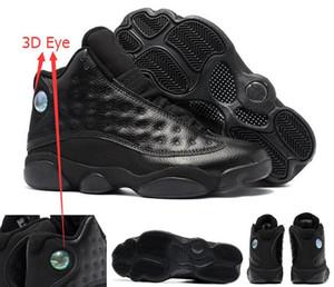 Meilleure qualité 13 Tous les noir 3D Eye Black Metallic 13 s homme chaussures de basket-ball hommes sz 41 47 avec boîte livraison gratuite