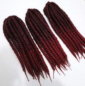 STOK Sentetik İki Ton Ombre Renk Havana Mambo Büküm Tığ Örgü Saç (Renk # 1b / 118 bordo) 18 inç 110 gram