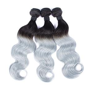 """Nueva Llegada 1B Gris Ombre Hair Weave 3 Bundles 10 """"-30"""" Extensiones de Onda Corporales Brasileñas de Pelo Humano Color de Dos Tonos"""