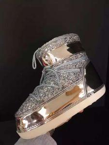 Shinny Bling Bling Женщина Tie Up Snow Boots Toe Круглой Плюшевый Внутри мех Зимней теплой ботильоны Высота Растущей обувь