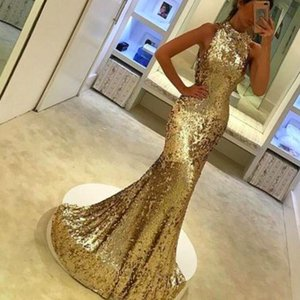 Mermaid Noel Gelinlik Modelleri Yüksek Boyun Altın Sequins kat Uzunluk Sparkly Kat Uzunluk Eveing Elbiseler Önlük