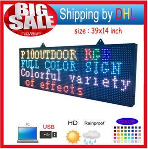 Envío gratis FULL COLOR RGB programable Led Signs / P10 39 por 14 pulgadas al aire libre Pantalla de mensaje de desplazamiento en línea