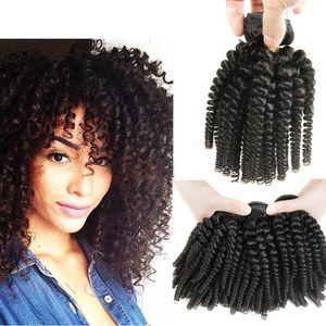 7A Grade 3 Bundles Angebote Afro Verworrenes Lockiges Haar Spirale Curl Weave Menschliches Haar Peruanische Jungfrau Haar Curly Wave Tante Funmi Bouncy Curls Fumi