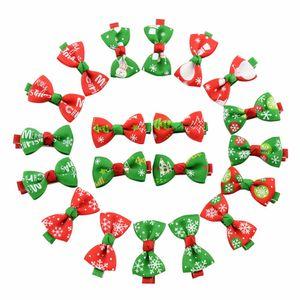 Clip lindo del pelo de las muchachas de la cinta Arco pinza de pelo de los niños horquilla del Bowknot de los niños accesorios para el cabello Boutique Adornos de Navidad