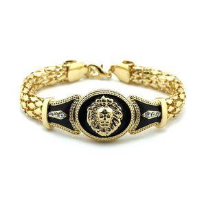 Горячей Продажа Стиль Punk Lion Head Подвеска цепи Кристалл браслет Серебро Золото Цвет для женщин ювелирных изделий