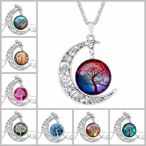 New Fashion Vintage Tree of Life Colliers Moon Gemstone Femmes Pendentif Colliers Creux Sculpté 8 Mix Bijoux Styles