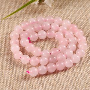Perline in pietra di cristallo rosa naturale per gioielli rendendo rosa quarzo pietra perline tonde braccialetto fai da te 4/6/8/10/12 / 14mm Strand 15 ''