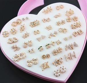 Оптовые партии 36 пар свет розовое золото серьги случайные стили имитация жемчуг бисером серьги стержня Рождественский подарок ME224