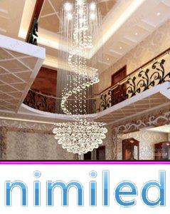 Nimi111 Dia 40/50/60/70/80 cm Kristal Lamba Avize Penthouse Spiral Merdiven Villa Oturma Odası Aydınlatma Armatürleri Dubleks Kolye Işıkları