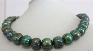 natürliche 11-12mm Tahitian Barock Pfau schwarz Perlenkette 18inch14k