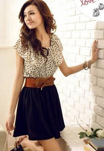 Оптово-Бич шифоновых женщин с коротким рукавом Dots платья партия платье мини платья для женщин Vestidos без ремня #Gofuly 0614