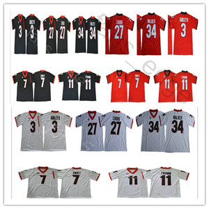NCAA Georgia Bulldogs 11 Jake Fromm 10 Jacob Eason 27 Nick Chubb 7 D'Andre Swift 34 Herchel Walker Red White College Football Jersey