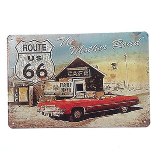 Route US 66 La mère Route Rétro Vintage En Métal Affiche signe pour Man Cave Garage minable chic sticker mural Café Bar décor à la maison
