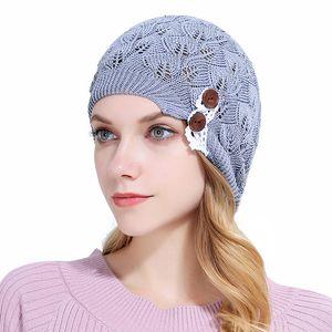 Осень зима женщины вязаные шапки Леди шапочка с листьями кружева кнопка мягкая теплая шерсть череп шапки шляпы капот Gorro мешковатые надувной