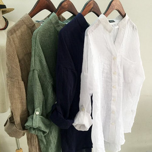 Hot Sale Spring and Fall Cotton and linen Lady Blouse V neck Long Sleeve Hi lo Loose Elegant Women Shirts Clean Cheap T Shirts