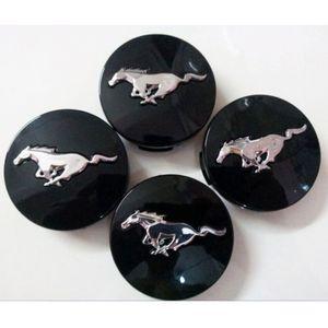 "4x D: 2.14 ""Emblem Racing Alloy wheel CENTER Black HUB CAPS CAP Silver Running Horse for Ford Mustang 54.5mm GT V6 Pony 50TH Boxer"