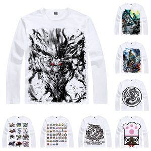 Anime Shirt Monster Hunter 4 온라인 티셔츠 멀티 스타일 긴 소매 천둥 늑대 Wyvern Zinogre Cosplay Motivs Kawaii Shirts