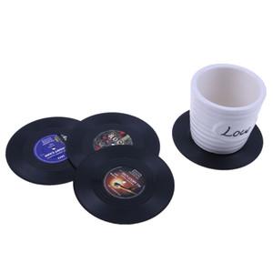 4 шт./компл. Главная стол Кубок мат творческий декор кофе напиток Placemat спиннинг ретро винил CD запись напитки подставки