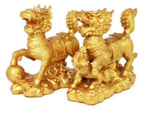 Şanslı Ne mutlu kutsandığında Fengshui Qi Lin Dekorasyon Heykel Qilin Heykeli Feng Shui Kylin Bir Çifti Altın Renk R0101002 mutlu
