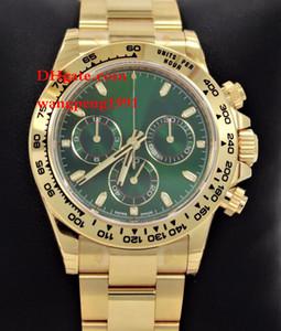 hommes de haute qualité et de haute qualité 40mm 116508 18k or jaune cadran vert lunette en acier inoxydable bracelet automatique Mens Watch montres