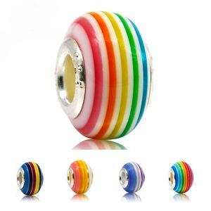 ديي زجاج مورانو lampwork الخرز الحفرة الكبيرة rainbow المشارب الفضة الأساسية فضفاض الخرز ل باندورا سحر أساور الأوروبي