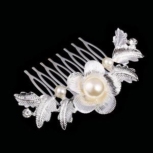 Güzel Çiçek Düğün Tiara Köpüklü Gümüş Kaplama Avusturyalı Kristal İnci Gelin Saç Combs Saç Takı Saç Aksesuarları DHF008