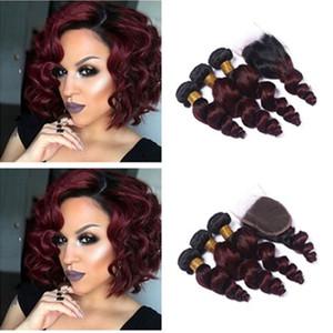 Vino Rojo Ombre # 1B / 99J Extensiones de Cabello Humano Con Cierre de Encaje Raíz Oscura Brazilian Loose Wave Bungundy Hair Bundles con Cierre 4 Unids / lote