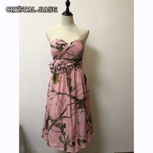 Şifon Kısa Nedime Elbiseleri Sevgiliye Boyun Çizgisi Pembe CAMO Düğün Parti Kıyafeti