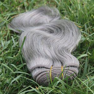 Extensões cinzentas do cabelo do cinza de prata do Weave 7a do cabelo humano do pacote 100g do cabelo da onda do corpo