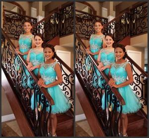 2017 Yeni Gelinlik Modelleri Jewel Boyun Illusion Düğün Konuk Aşınma Sky Blue Nane Tül Kristal Boncuklu Kısa Parti Elbise Onur Hizmetçi törenlerinde
