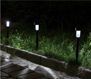 10PCS الفولاذ المقاوم للصدأ LED الخفيفة للطاقة الشمسية في الهواء الطلق مصباح حديقة مسار الحديقة مصباح LED بقعة ضوء المناظر الطبيعية