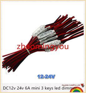 YON 100 unids dc12v 24v 6A mini 3 teclas led regulador 12v para controlar un solo color de luz de tira smd 3528 5050 5630 envío gratis