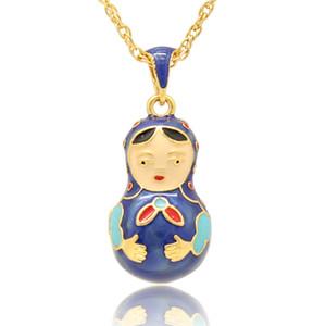 Colgante de collar de muñeca de matryoshka rusa de colores de esmalte artesanal Flor Colgante de collar de huevo de Faberge para el día de Pascua