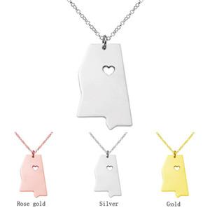3 couleurs plaqué carte pendentif collier Mississippi State Missouri State charme pendentif collier personnalité MS carte personnalisée écharpe colliers