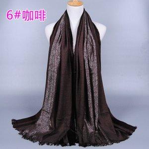 Las mujeres de color sólido shimmer bufandas de algodón chal de la venda del brillo del silenciador hijab wrap diadema bufandas musulmanas